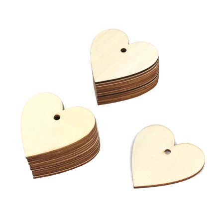 Home Wooden Love Heart Shaped Wedding Ornament DIY Craft Beige 60mm x 60mm 25pcs - Wooden Hearts Crafts