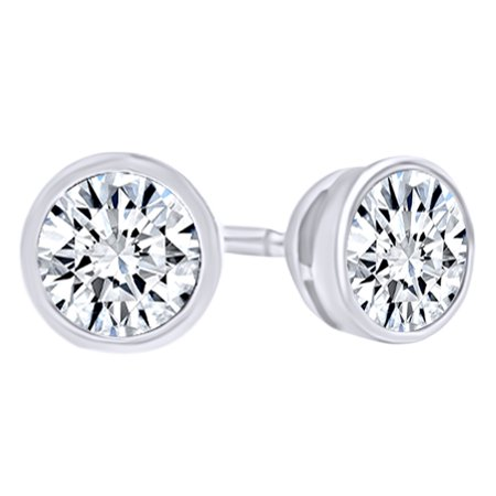 Round Cut White Natural Diamond Solitaire Stud Earrings In 14K Solid White Gold  0 25 Ct  By Jewel Zone Us