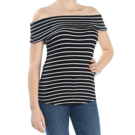 Womens Black Pinstripe (FREE PEOPLE Womens Black Pinstripe Short Sleeve Off Shoulder Top  Size: M )