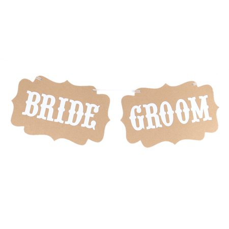 BRIDE GROOM Letter Pattern Chair Back Wall Hanger Party Decor Photo Prop Banner](Here Comes The Bride Banner)
