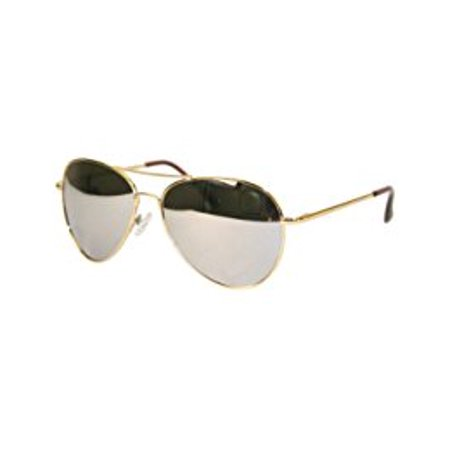 Pilot Fashion Aviator Sunglasses Gold Frame with Mirror Lenses for Men and Women ()