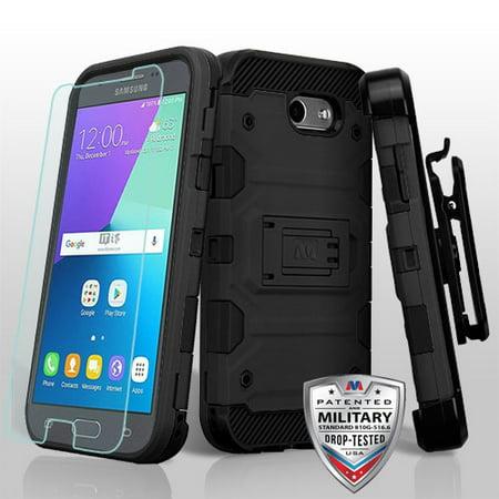 SAMSUNG GALAXY J3 Emerge, J3 /J327P (2017), Express Prime 2, Amp Prime 2, J3 Prime, Sol 2 Phone Case Hybrid Armor Rugged Rubber Hard Cover Clip Holster & Tempered Glass Screen Protector - Black