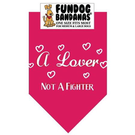 Fun Dog Bandana - A Lover Not a Fighter - One Size Fits Most for Med to Lg Dogs, hot pink pet scarf