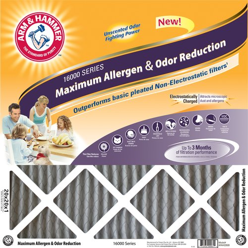 "Arm & Hammer Maximum Allergen and Odor Reduction Air Filter, 16"" x 25"""