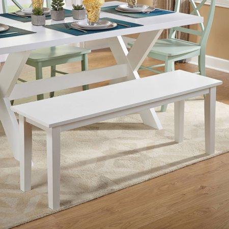 TMS Tiffany Wood Dining Bench, White Bench Extra Thick Wood