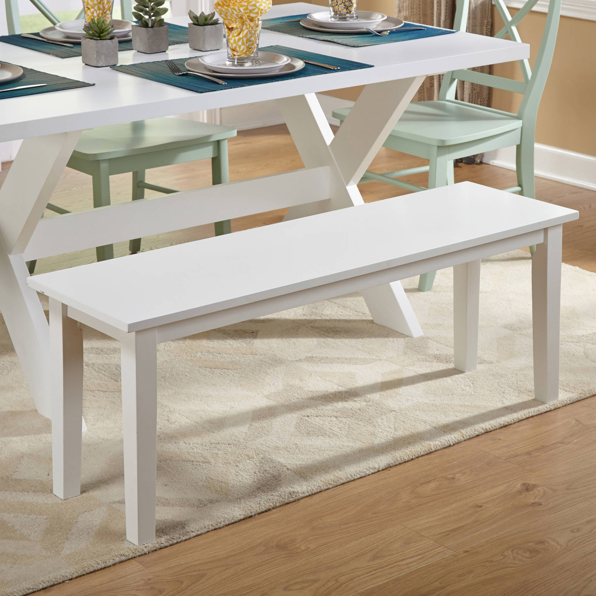 Dining Bench, White Finish