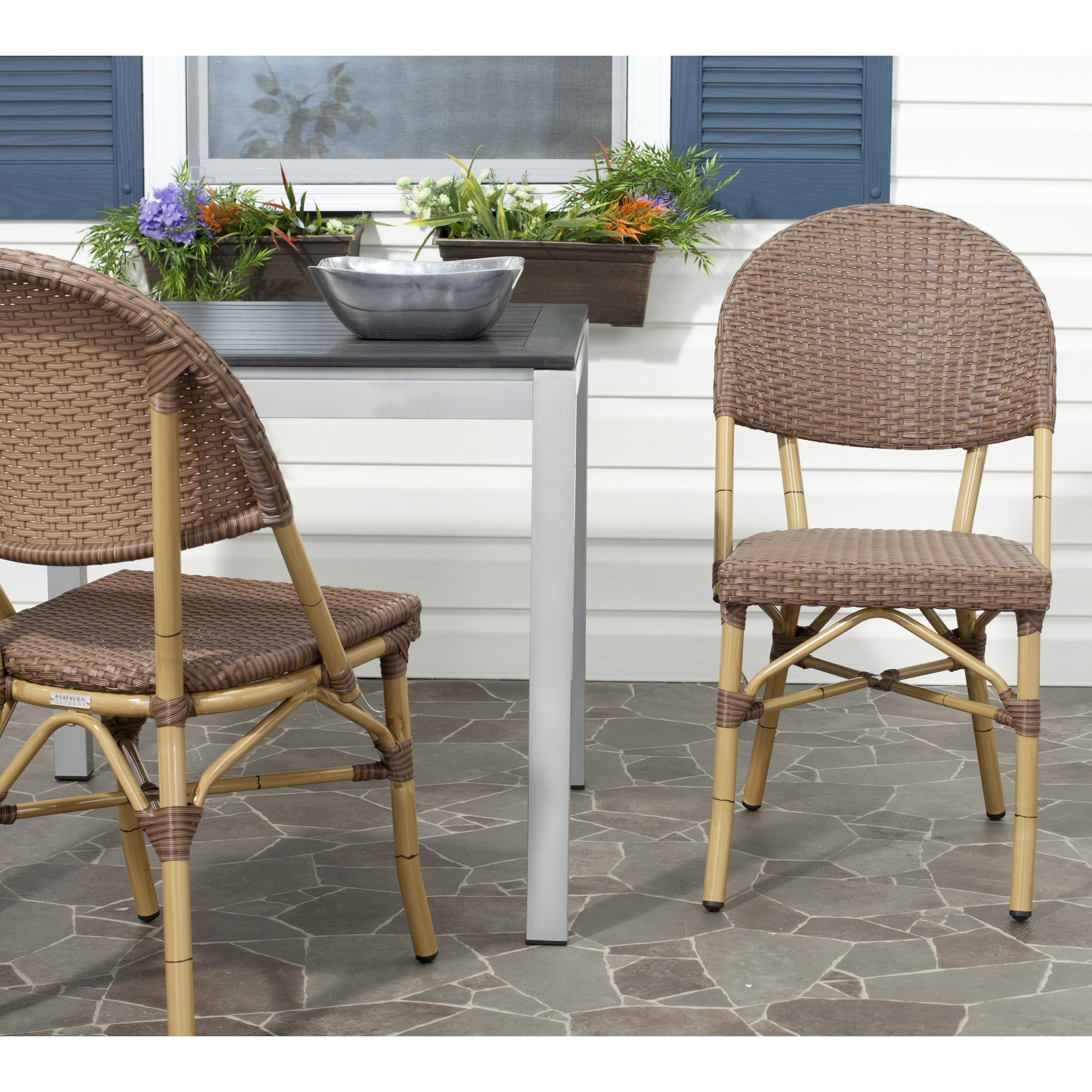 Safavieh  Rural Woven Dining Barrow Brown Indoor Outdoor Stackable Dining Chairs (Set of 2)