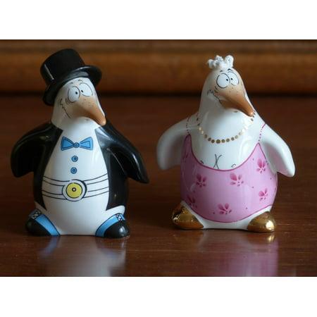 Canvas Print Penguin Bride Porcelain Groom Sound Fig Painted Stretched Canvas 10 x 14