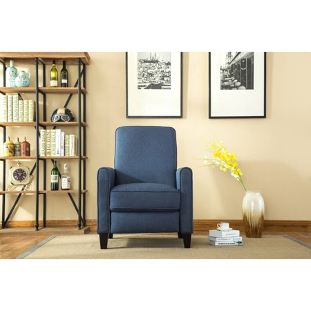 Leonel Signature Savannah Linen push back recliner, Blue Color (Blue Recliner)