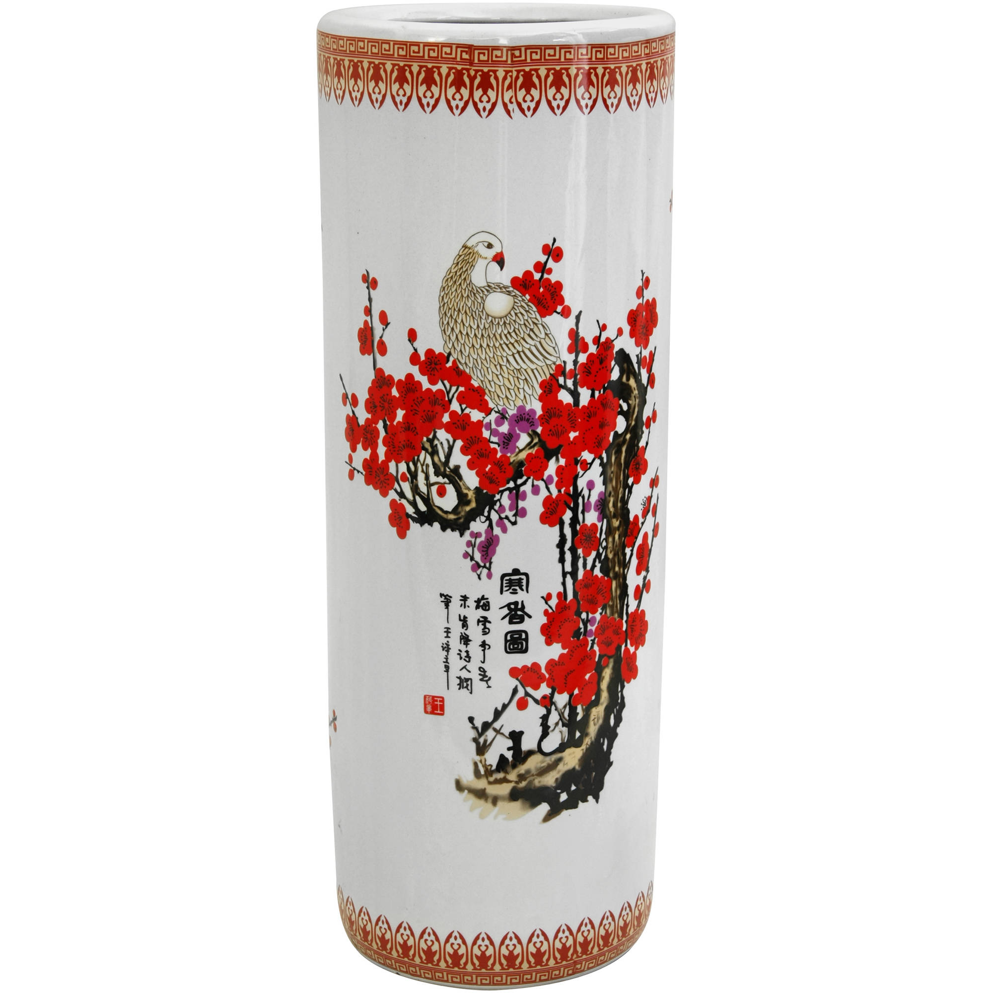 "24"" Cherry Blossom Porcelain Umbrella Stand"