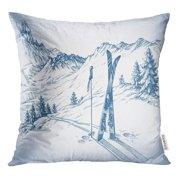 RYLABLUE Sketch Ski Mountains in Winter Season Snow Landscape Draw Downhill Throw Pillowcase Cushion Case Cover