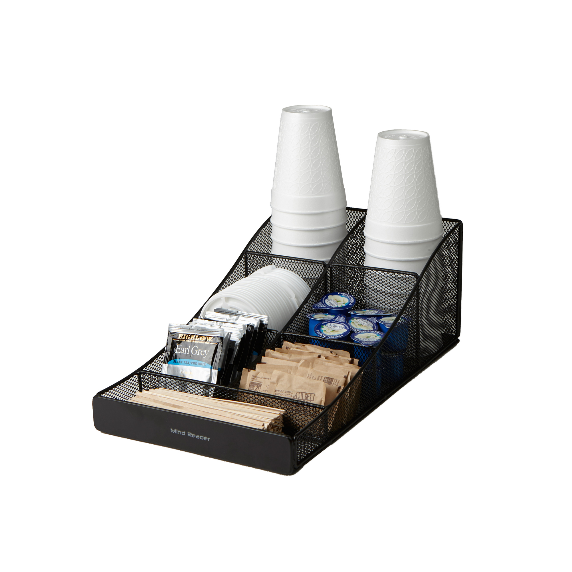 Mind Reader ' Trove' 7 Compartment Tea/Coffee Condiment Organizer, Black Metal Mesh