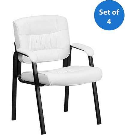 Flash Furniture Leather Guest/Reception Chair with Black Frame Finish, Set of