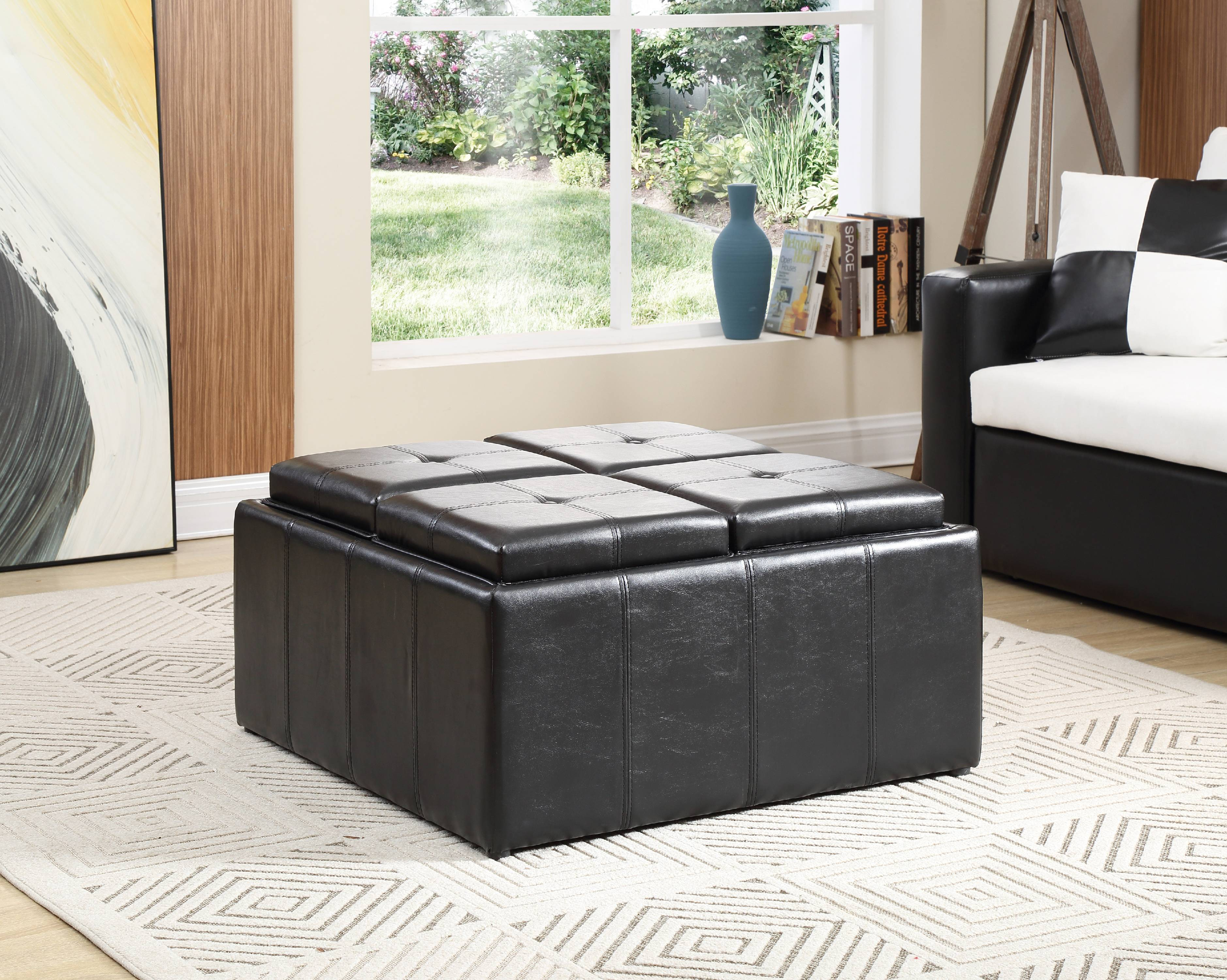 Hodedah Faux Leather Storage Ottoman With 4 Flip Over Serving Trays Black Walmart Com Walmart Com