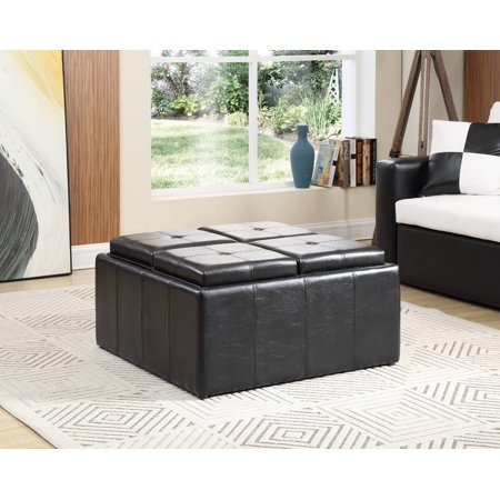 Hodedah Faux Leather, Storage Ottoman with 4-Flip over Serving Trays, Black ()