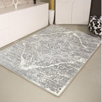 Persian Rugs 4620 Distressed Silver 7'10x10'6 Area Rug Large Carpet