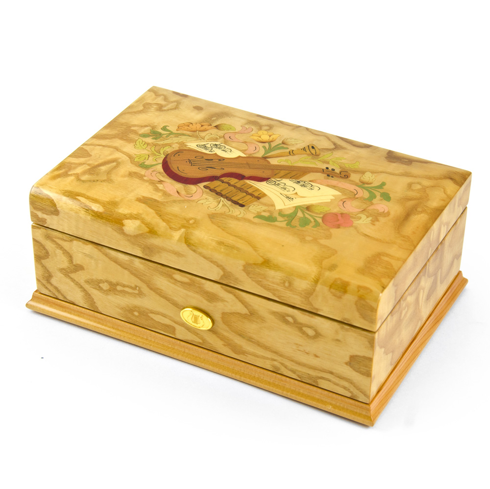 Gorgeous 50 Note Swiss Light Blonde Music Theme Inlay Grand Music Box 18th Variation by MusicBoxAttic