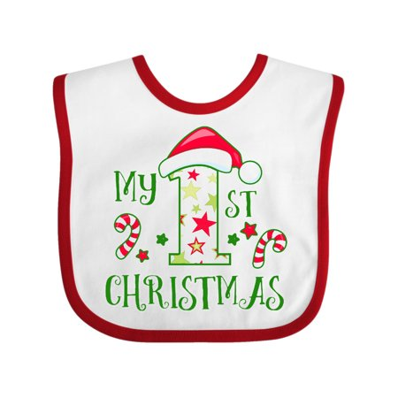 My 1st Christmas with Candy Canes and Stars Baby Bib
