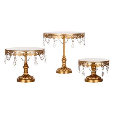 Amalfi Décor 3-Piece Crystal Cake Stand Set (Gold) | Stainless Steel Frame