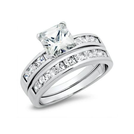 Sterling Silver Cubic Zirconia 2 8 Carat Tw Princess Cut Cz Wedding Engagement Ring Set Nickel