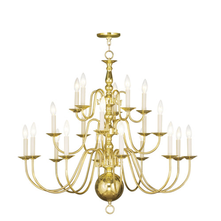 Chandeliers 20 Light Williamsburg With Polished Brass Finish size 36 in 600 Watts - World of Crystal