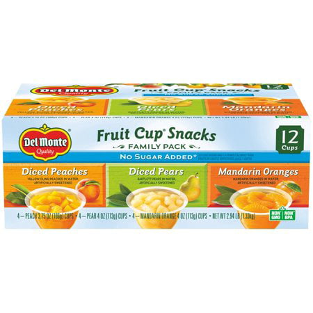 (24 Cups) Del Monte Fruit Cup Snacks No Sugar Added Variety Pack (Peaches, Pears, Mandarins), 4 oz cups