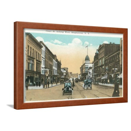 Binghamton, New York - Western View of Court Street Framed Print Wall Art By Lantern (Commercial Cleaning Services Of Western New York)