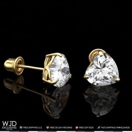 1Ct Created Diamond Heart Solid 14K Yellow Gold Stud Screw-Back Earrings Solid 14k Gold Heart Earrings