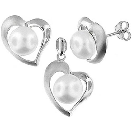 Doma Jewellery SSTL067W Sterling Silver And Freshwater Pearl Earring And Pendant Set