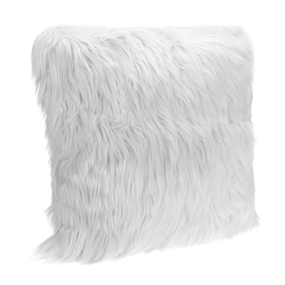 """18/"""" White Soft Faux Fur Pillow Case Fluffy Plush Cushion Cover Throw Home Décor"""