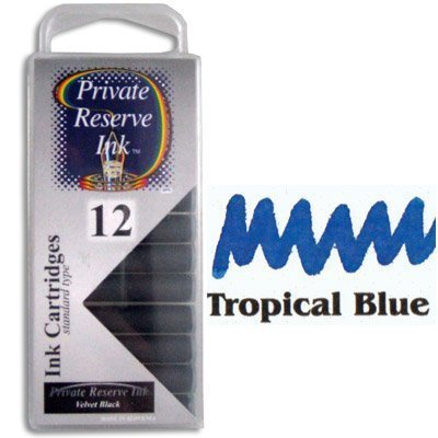 Private Reserve Ink 12 Pack Universal Size Fountain Pen Cartridge - Tropical Blue