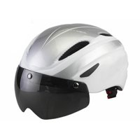 Ultralight Mountain Bike Helmet - with Goggles - White/Silver