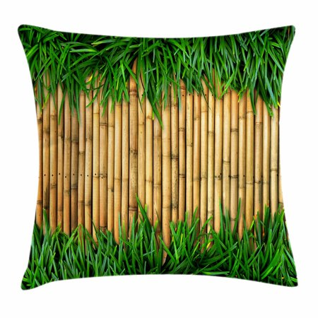 Dark Brown Bamboo - Green and Brown Throw Pillow Cushion Cover, Bamboo with Grass Asian Inspirations Summer Ecology Japanese, Decorative Square Accent Pillow Case, 18 X 18 Inches, Sand Brown Fern Green, by Ambesonne