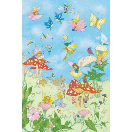 Fairy Tales Little Girls Dream Butterflies Birds Bunnies Cute Poster 24x36 (Fairy Cube)