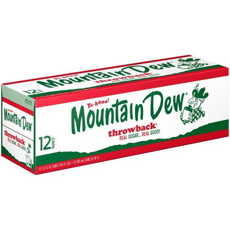 (3 Pack) Mountain Dew Throwback Soda, 12 Fl Oz, 12 Count