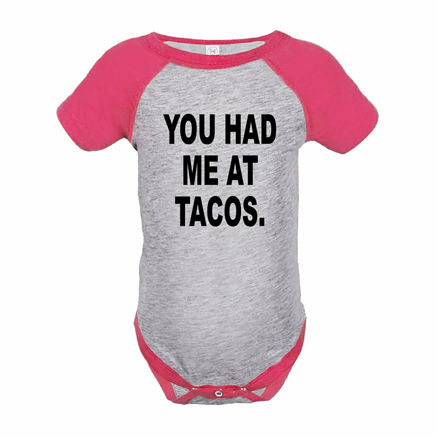 7 ate 9 Apparel Funny Kids You Had Me At Tacos Baseball Onepiece Pink - 12 Months