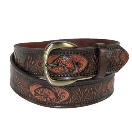 Men's Leather Fish Embossed Bridle Belt Croco Embossed Leather Belt