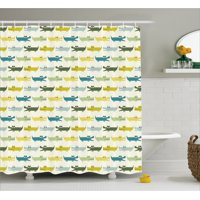 Kids Shower Curtain, Crocodile Characters in Cartoon Style Funny Faces Animal Alligators Childish, Fabric Bathroom Set with Hooks, Yellow Green Teal, by Ambesonne