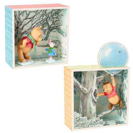 Hallmark (2 Piece) Winnie the Pooh Disney Figurines Sets Collectibles Pooh Bear & Piglet Shadow Box Figures (Pooh Bear And Piglet Halloween Costumes)