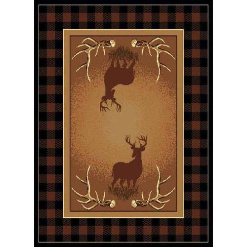 "United Weavers Elements Buck Border Woven Polypropylene Area Rug, Multi, 5'3"" x 7'2"""