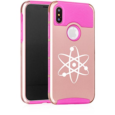For Apple (iPhone X) Shockproof Impact Hard Soft Case Cover Atom Science Atheist (Rose Gold-Hot Pink)
