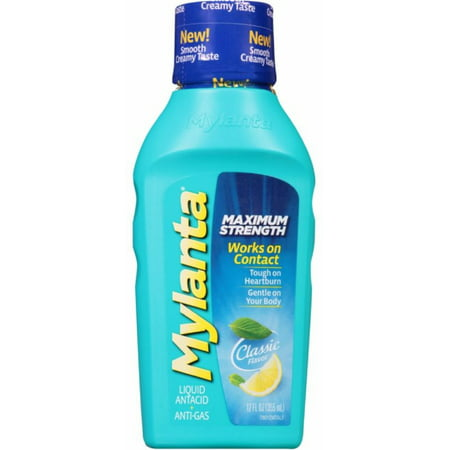 2 Pack - MYLANTA Maximum Strength Liquid Antacid + Anti-Gas, Classic Flavor 12 oz