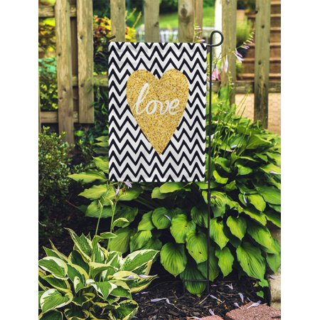 POGLIP Gold Sparkle Heart Text Love on Zig Zag Modern Romantic Garden Flag Decorative Flag House Banner 12x18 inch - image 1 of 2
