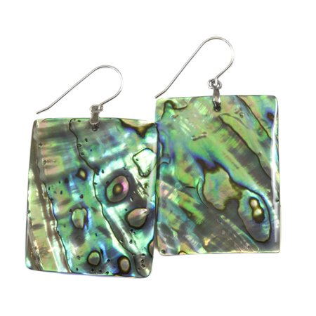 Abalone Earrings Mother of Pearl Paua Shell Peacock Blue Green Large Rectangle MOP Drops Sterling Silver