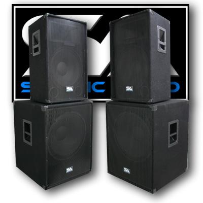 "Seismic Audio PAIR 15"" PA/DJ Speakers & 2 18"" Inch Subwoo..."