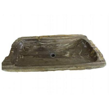 Eden Bath EB_S039PW-P Natural Stone Trough Vessel Sink In Petrified Wood