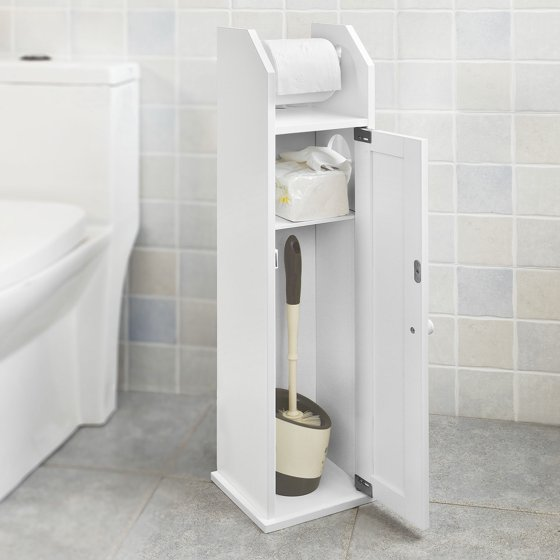 Haotian Frg135 W White Free Standing Wooden Bathroom Toilet Paper Roll Holder Storage Cabinet