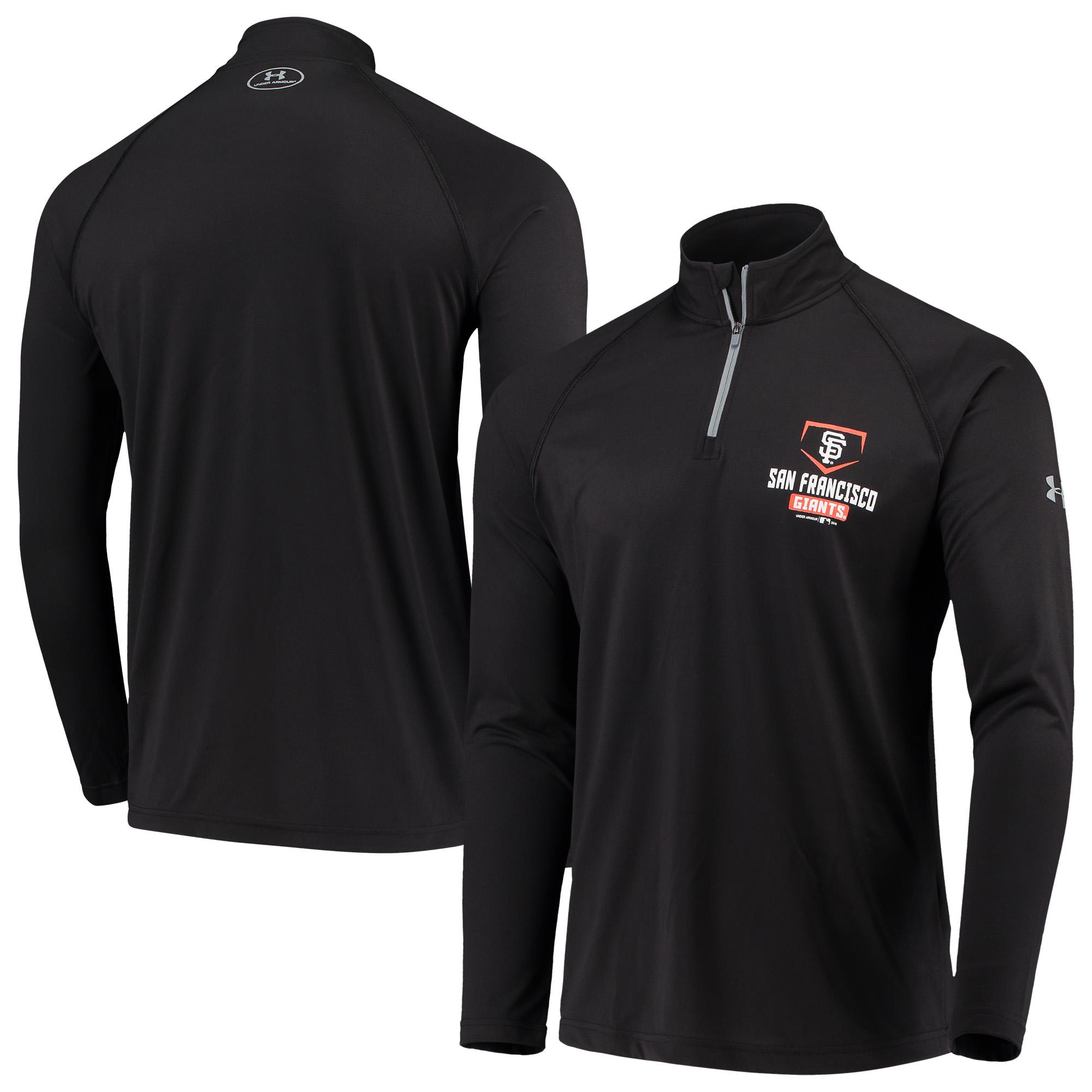 San Francisco Giants Under Armour Tech Quarter-Zip Performance Pullover Jacket - Black