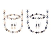 Sterling Silver Multi-Colored Freshwater Cultured Pearl Necklace, Bracelet and Earring Set (8-8.5 mm) Peacock Black, Grey, White