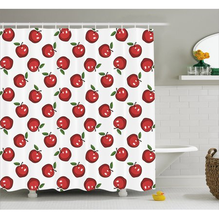 Apple Shower Curtain Hand Drawn Cartoon Apples Organic Juicy Delicious Fruit Healthy Eating Fabric